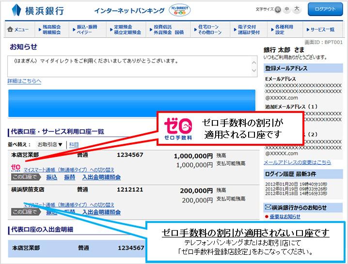 手数料 横浜 銀行